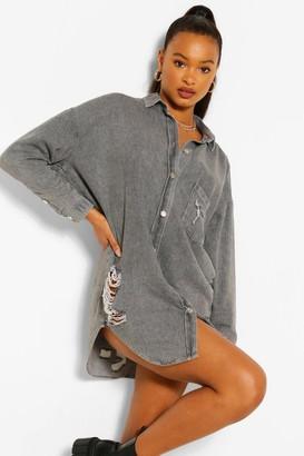 boohoo Oversized Distressed Denim Shirt Dress