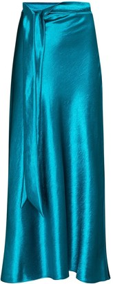 Collina Strada Ribbon Detail Satin Midi Skirt