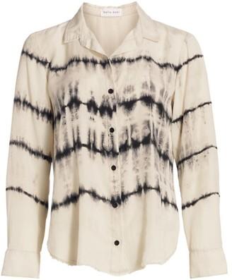 Bella Dahl Tie-Dye Frayed Button-Up Shirt