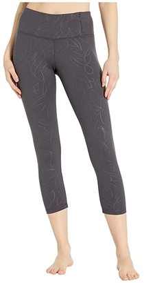 Jockey Active Embossed Floral Capris (Nine Iron) Women's Casual Pants