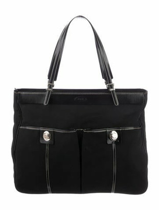 Tod's Leather-Trimmed Nylon Tote Black