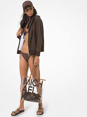 MICHAEL Michael Kors MK Logo Print Cotton Terry Zip-Up Hoodie - Chocolate - Michael Kors