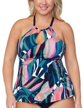 Raisins Curve Trendy Plus Size Crystal Cove Underwire Tankini Top Women's Swimsuit