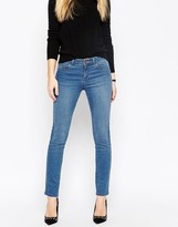 Asos Pencil Straight Leg Jeans In Daisy Bright Blue Wash