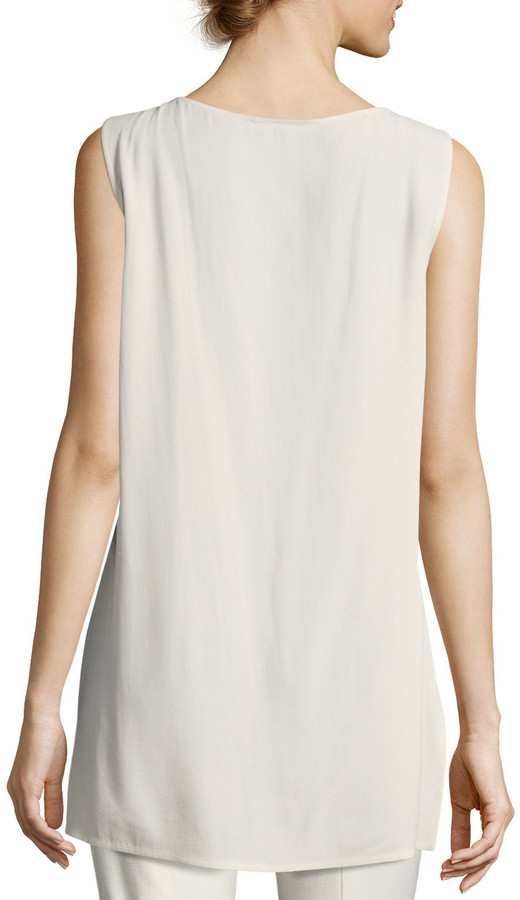 Thumbnail for your product : Eileen Fisher Silk Georgette Bateau-Neck Long Tank