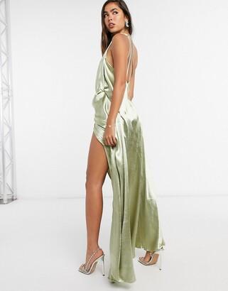 ASOS DESIGN one shoulder satin maxi dress with split strap detail