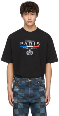 Balenciaga Black Paris Flag Regular Fit T-Shirt
