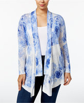 INC International Concepts Plus Size Floral-Print Draped Cardigan, Created for Macy's