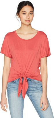 Three Dots Women's Refined Jersey Short Loose Tie Front Tee