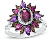 Zales Multi-Gemstone and 1/10 CT. T.W. Diamond Starburst Frame Ring in Sterling Silver