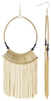 Jardin Black Beaded Chain Fringe Hoop Dangle Earrings