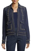 Trina Turk Zip-Front Suede Jacket w/ Studded Trim