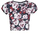 Select Fashion Fashion Womens Multi Winter Flower Cap Slv Crop - size 12