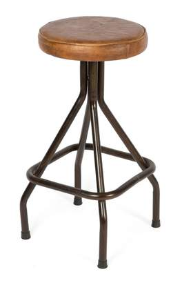 Home & Giftware Loft Iron And Leather Bar Stool