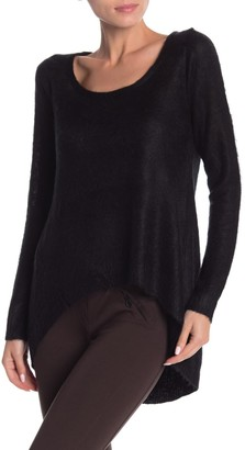 Vertigo Hi-Lo Scoop Neck Fuzzy Pullover Sweater