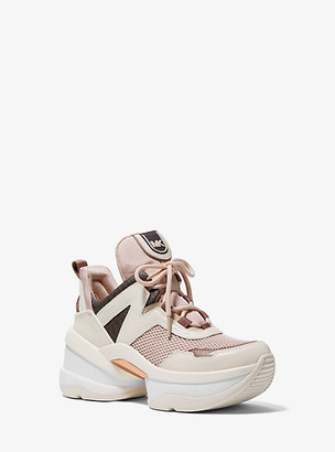 MICHAEL Michael Kors MK Olympia Canvas and Leather Trainer - Soft Pink - Michael Kors
