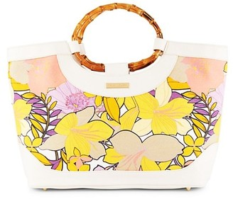 Trina Turk Floral-Print Canvas & Bamboo-Handle Tote