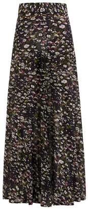 Ganni Floral-print Georgette Maxi Skirt - Black Multi