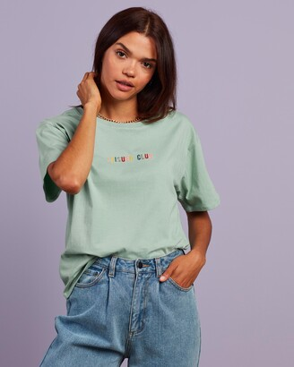 Cools Club - Women's Green Printed T-Shirts - Leisure Embroidered Tee - Size 6 at The Iconic
