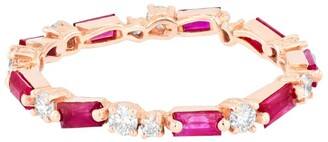 Suzanne Kalan Rose Gold, Diamond and Ruby Fireworks Eternity Ring (Size 6.5)