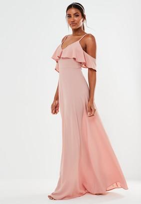 Missguided Blush Bubble Crepe Cold Shoulder Maxi Bridesmaid Dress