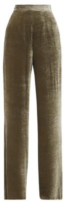 Etro High-rise Velvet Wide-leg Trousers - Grey