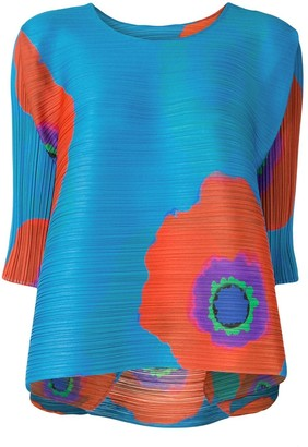 Pleats Please Issey Miyake Floral Print Pleated Blouse