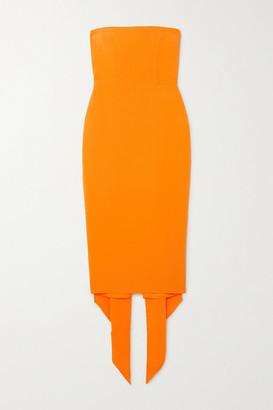Alex Perry Hall Strapless Draped Crepe Midi Dress - Orange