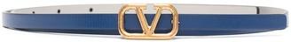 Valentino reversible VLOGO skinny buckle belt