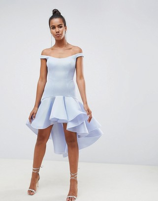 Asos Design DESIGN Premium Sculptured Ruffle Midi Prom Dress-Grey
