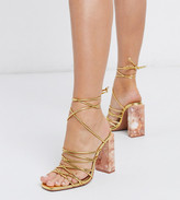 Asos DESIGN Wide Fit Nourish strappy sandals with marble heel in gold