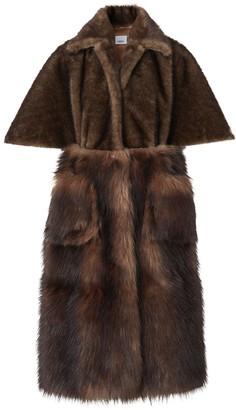 Burberry Faux Fur Cape Coat