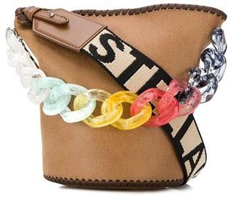 Stella McCartney Stella Logo rainbow chain bucket bag
