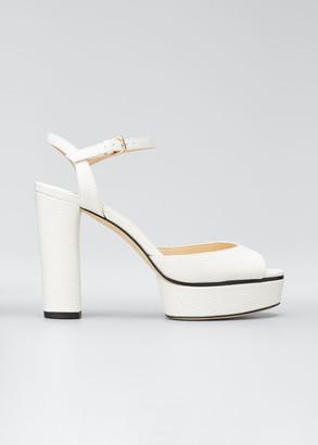 Jimmy Choo Peachy Lizard-Print Leather Platform Sandals