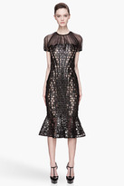 Alexander McQueen Black and warm beige Perforated honeycomb Patent leather Runway Dress