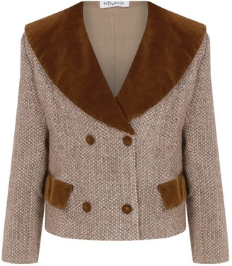Kith & Kin Brown Wide Collar Wooly Jacket