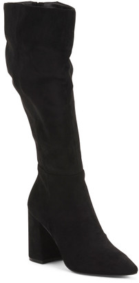 Pointy Toe Block Heel Tall Shaft Boots