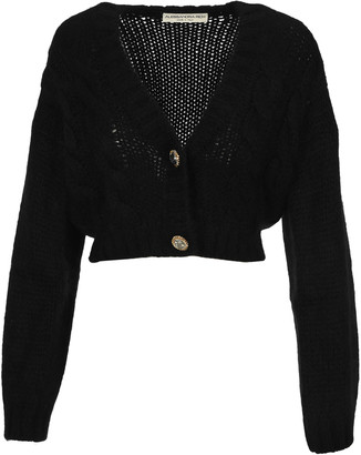 Alessandra Rich Cropped Cable Knit Cardigan