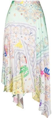Mira Mikati Asymmetric Paisley-Print Midi Skirt