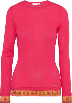 Versace Jacquard-trimmed Silk And Cashmere-blend Sweater