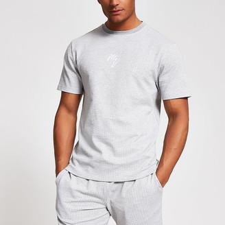 River Island Maison Riviera grey stripe slim fit T-shirt