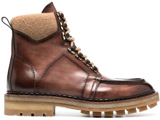 Santoni Leather Lace-Up Boots