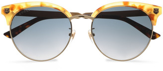Gucci Clubmaster Printed Acetate And Burnished Gold-tone Sunglasses