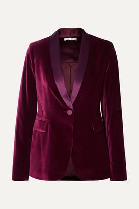Alice Olivia - Macey Satin-trimmed Velvet Blazer - Purple