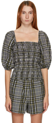 Ganni Green Seersucker Check Smock Blouse