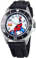 Marvel Disney Honor Mens Spiderman Black Silicone Strap Watch