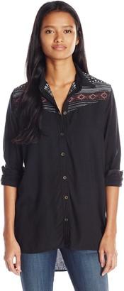 Angie Women's Acid Wash Button Up Shirt