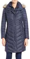 Andrew Marc Coyote Fur-Trimmed Quilted Coat