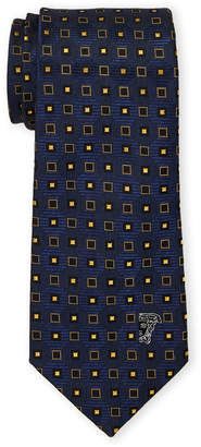 Versace Blue Silk Boxes Pattern Tie