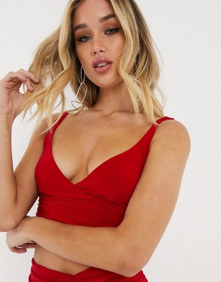 Club L London Club L wrap sleeveless top in red
